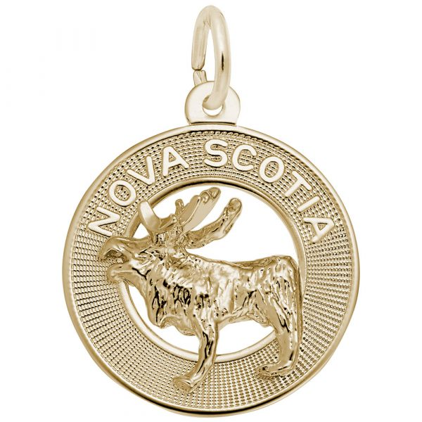 Nova Scotia and moose gold charm